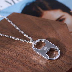 Tory Burch Gemini Long Necklace,Silver